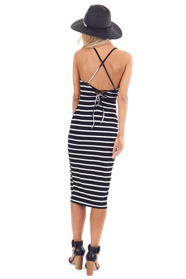 Black and Pure White Striped Ribbed Dress with Lace Up Back back full body