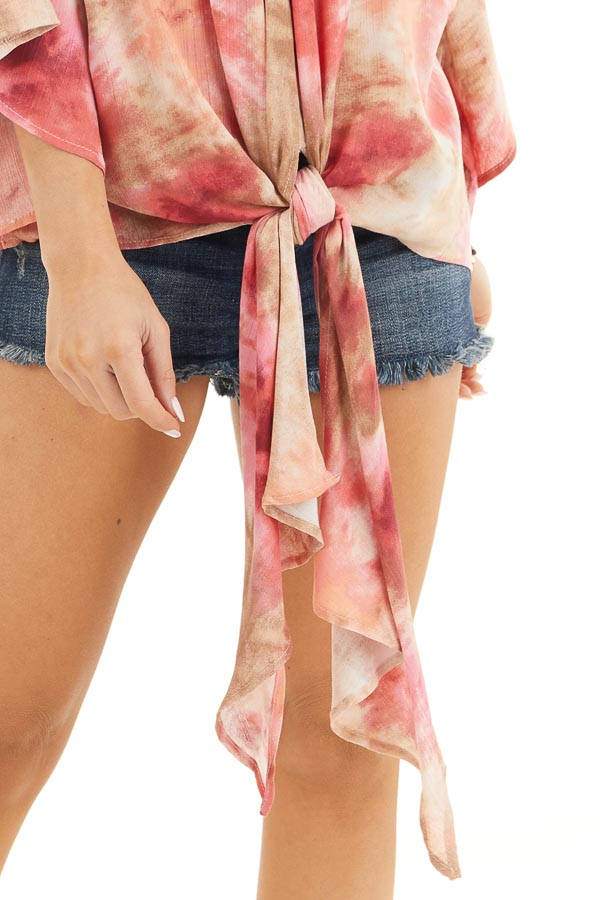 Rose Pink Tie Dye V Neck Top with Wide Sleeves and Front Tie detail