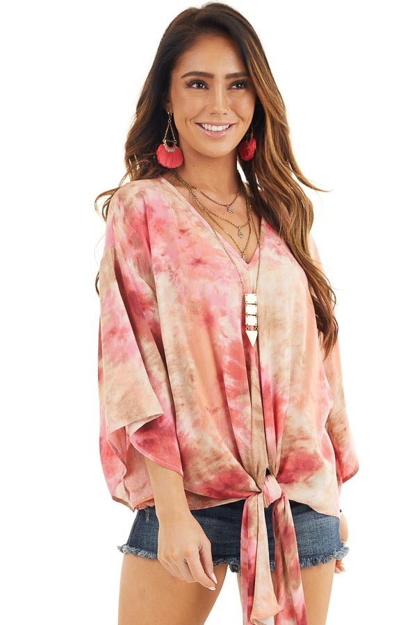 Rose Pink Tie Dye V Neck Top with Wide Sleeves and Front Tie front close up