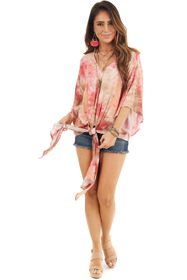 Rose Pink Tie Dye V Neck Top with Wide Sleeves and Front Tie front full body