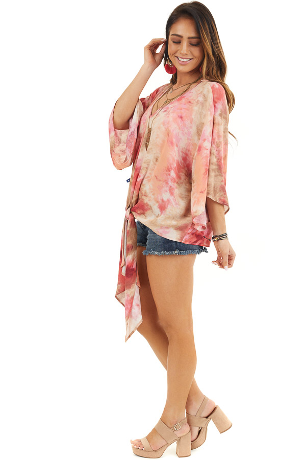 Rose Pink Tie Dye V Neck Top with Wide Sleeves and Front Tie side full body