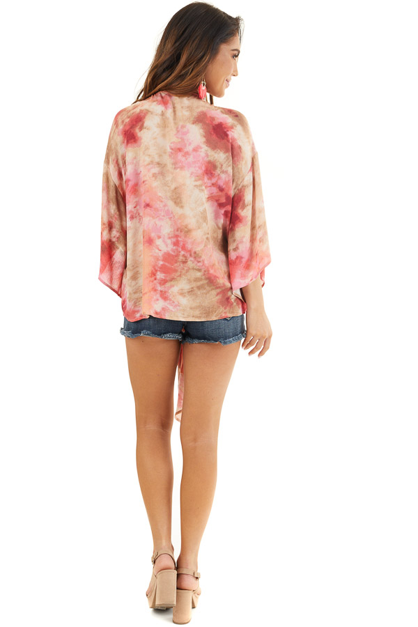 Rose Pink Tie Dye V Neck Top with Wide Sleeves and Front Tie back full body