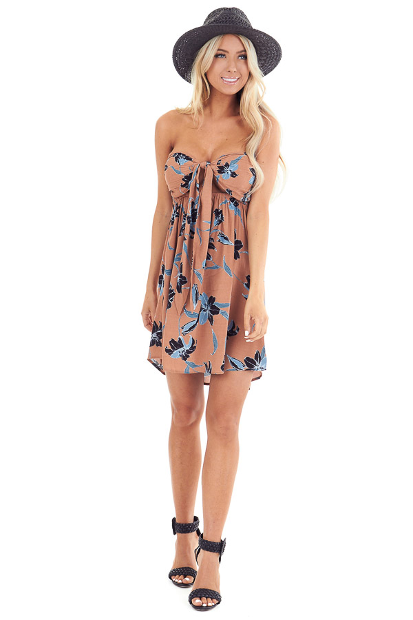 Terracotta Strapless Floral Print Mini Dress with Front Tie front full body