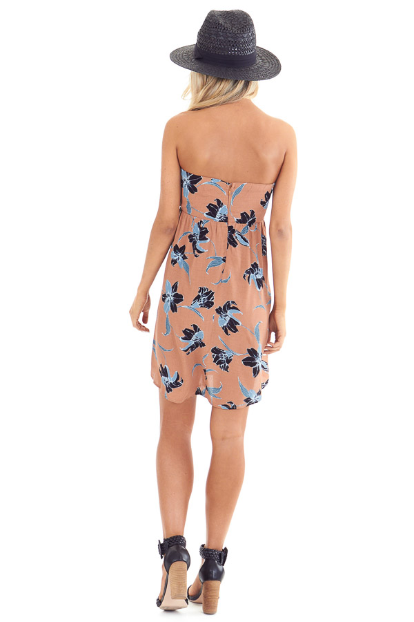 Terracotta Strapless Floral Print Mini Dress with Front Tie back full body