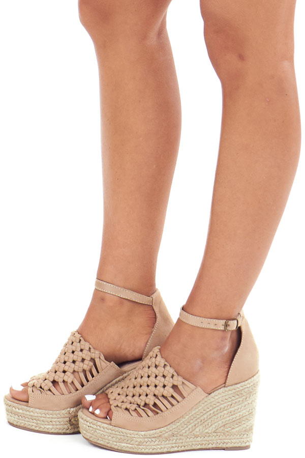 Beige Basket Woven Espadrille Wedge with Ankle Strap side view