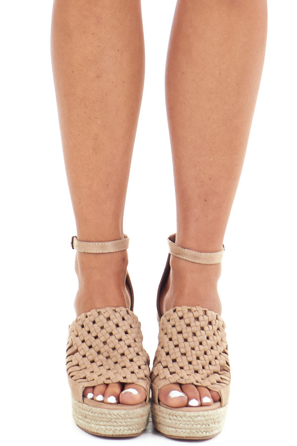 Beige Basket Woven Espadrille Wedge with Ankle Strap front view