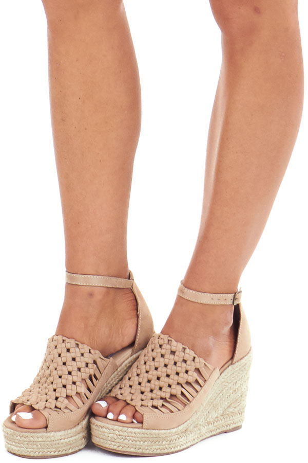 Beige Basket Woven Espadrille Wedge with Ankle Strap front side view