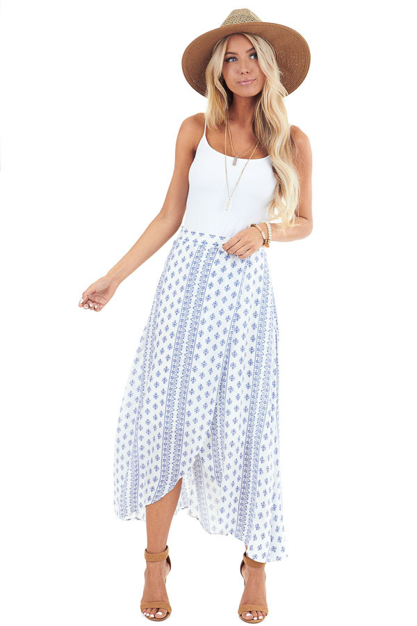 Ivory and Sapphire Multi Print Surplice Style Midi Skirt front full body