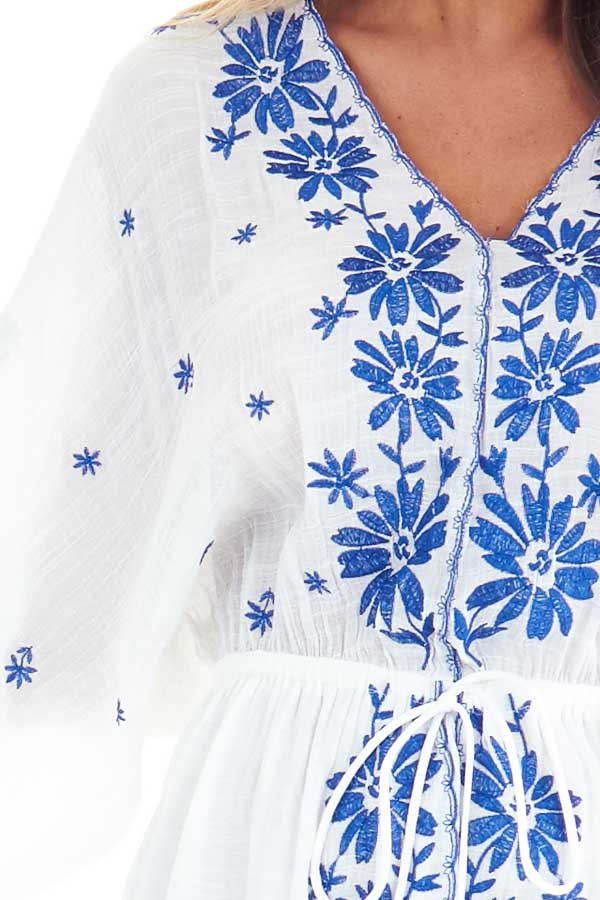 Cotton White and Cobalt Embroidered Floral Short Dress detail