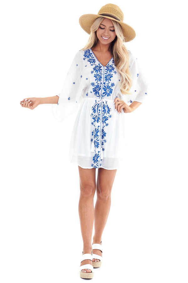 Cotton White and Cobalt Embroidered Floral Short Dress front full body