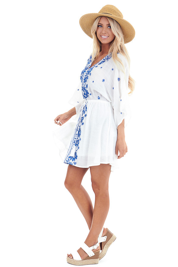 Cotton White and Cobalt Embroidered Floral Short Dress side full body