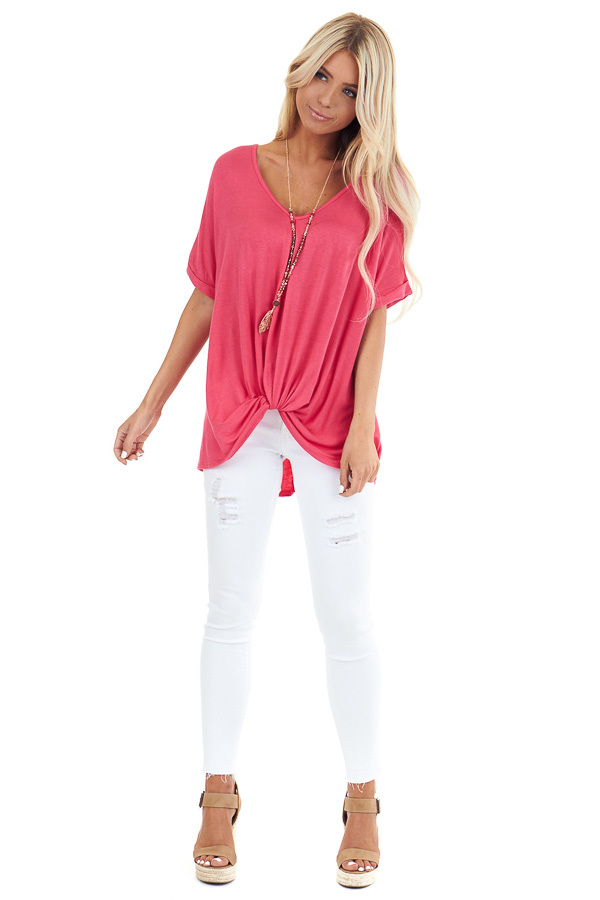 Watermelon Short Sleeve Top with Front Twist front full body