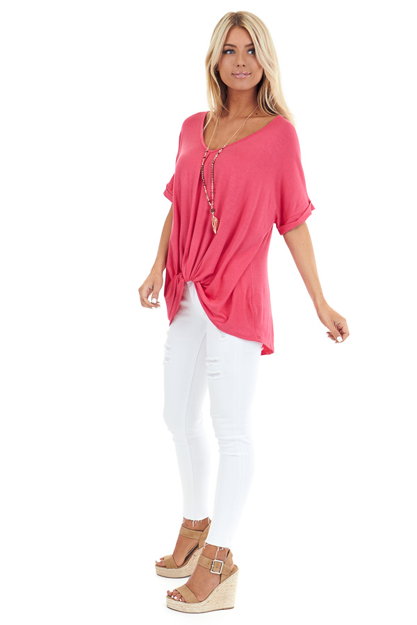Watermelon Short Sleeve Top with Front Twist side full body