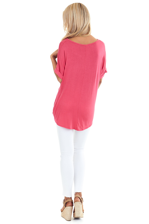 Watermelon Short Sleeve Top with Front Twist back full body