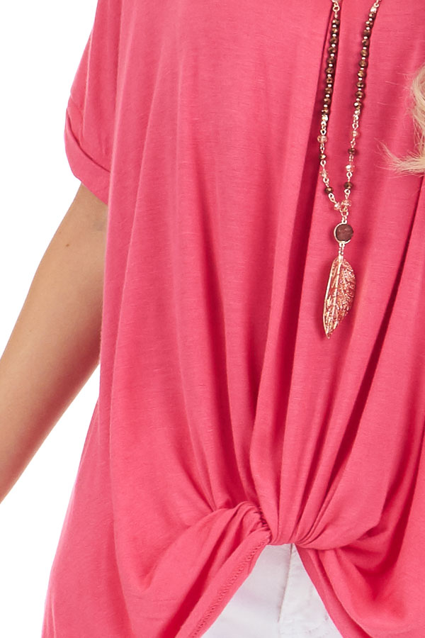 Watermelon Short Sleeve Top with Front Twist detail