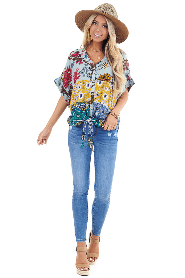 Sage Floral Print V Neck Button Up Top with Front Tie front full body