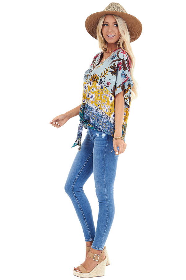 Sage Floral Print V Neck Button Up Top with Front Tie side full body