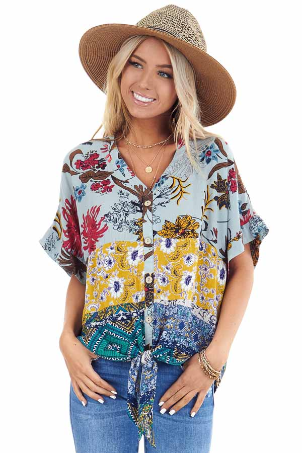 Sage Floral Print V Neck Button Up Top with Front Tie front close up