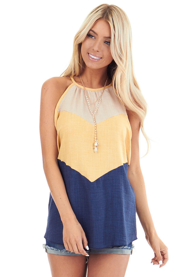 Lemon and Navy Color Block High Neckline Tank Top front close up