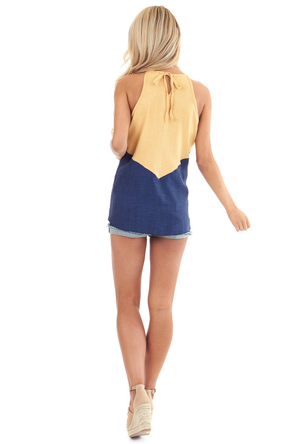 Lemon and Navy Color Block High Neckline Tank Top back full body