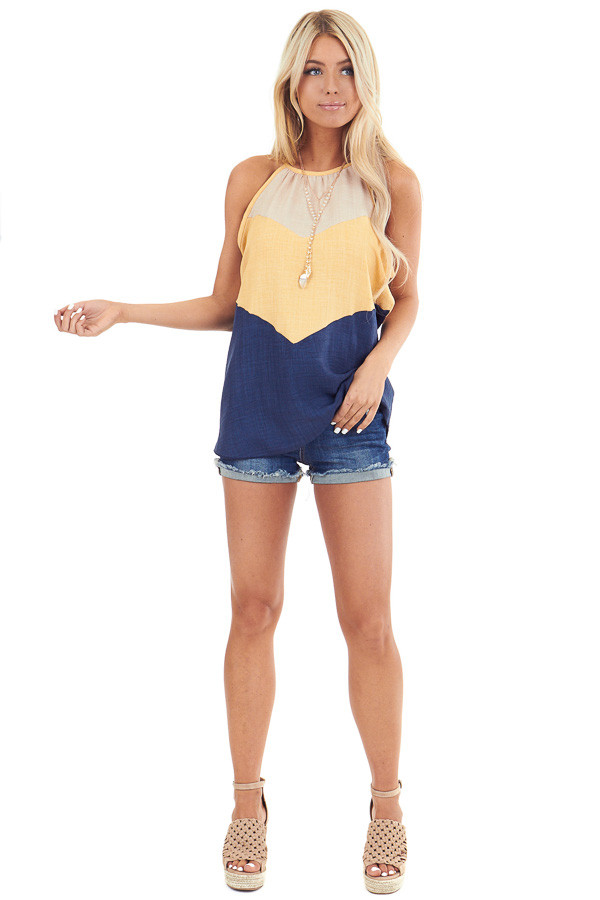 Lemon and Navy Color Block High Neckline Tank Top front full body