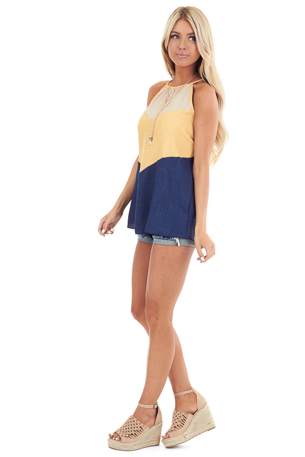 Lemon and Navy Color Block High Neckline Tank Top side full body