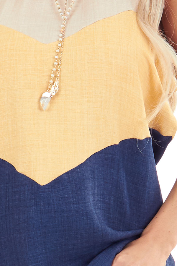 Lemon and Navy Color Block High Neckline Tank Top detail