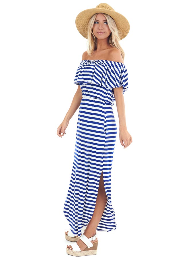 Prussian Blue and Ivory Striped Off the Shoulder Maxi Dress side full body