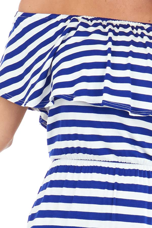 Prussian Blue and Ivory Striped Off the Shoulder Maxi Dress detail