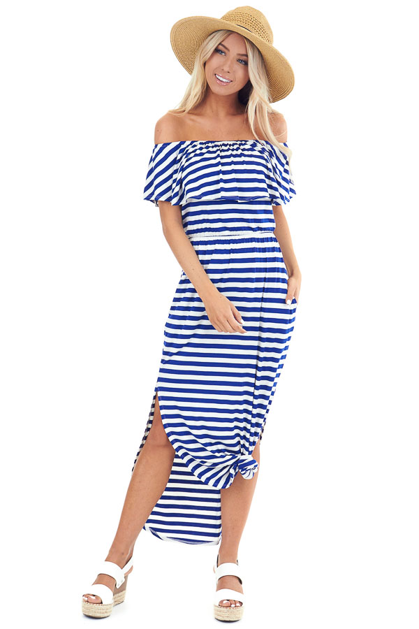 Prussian Blue and Ivory Striped Off the Shoulder Maxi Dress front full body
