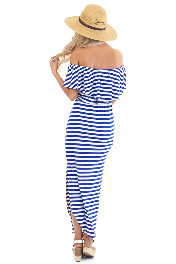 Prussian Blue and Ivory Striped Off the Shoulder Maxi Dress back full body