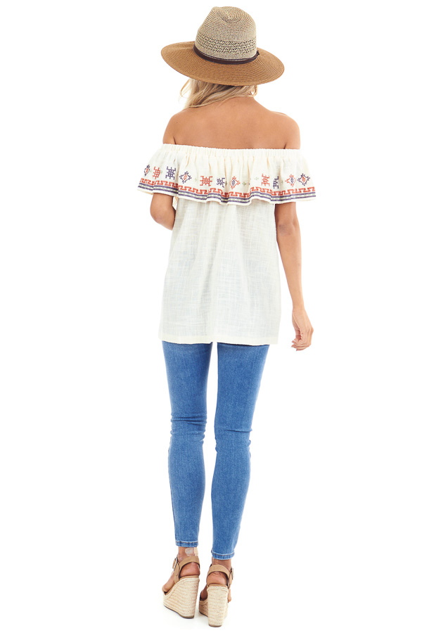 Cream Off the Shoulder Embroidered Top with Ruffle Overlay back full body
