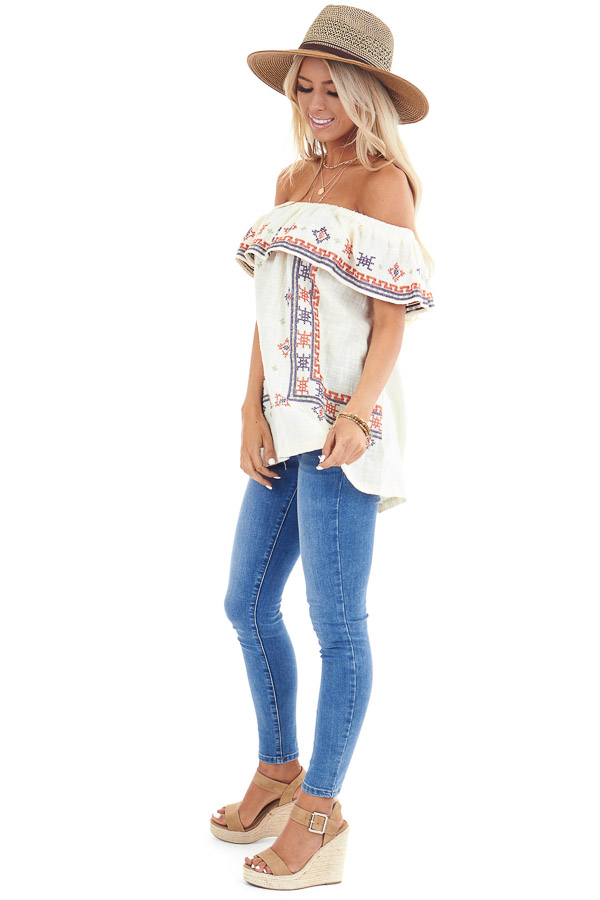 Cream Off the Shoulder Embroidered Top with Ruffle Overlay side full body