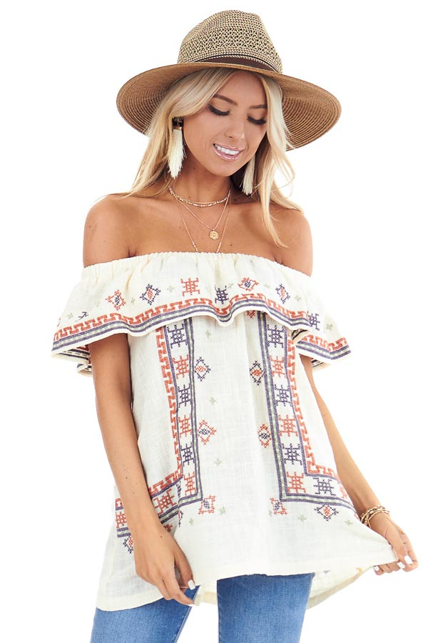 Cream Off the Shoulder Embroidered Top with Ruffle Overlay front close up