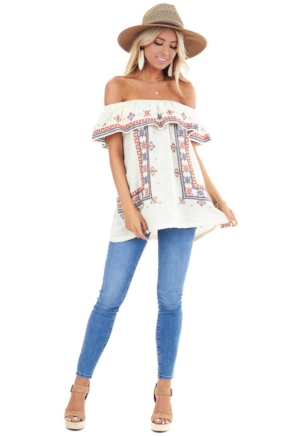 Cream Off the Shoulder Embroidered Top with Ruffle Overlay front full body