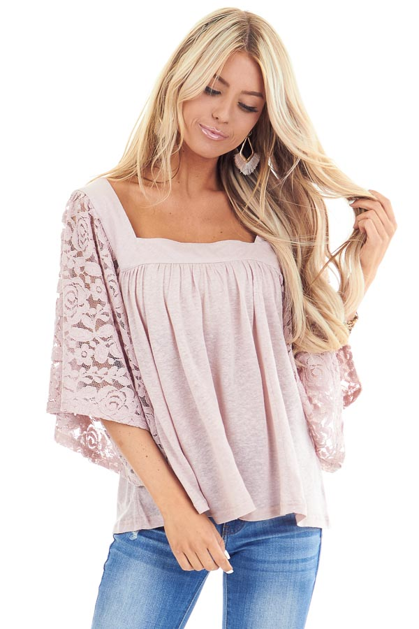Pale Mauve Square Neck Top with Sheer Lace Half Sleeves front close up