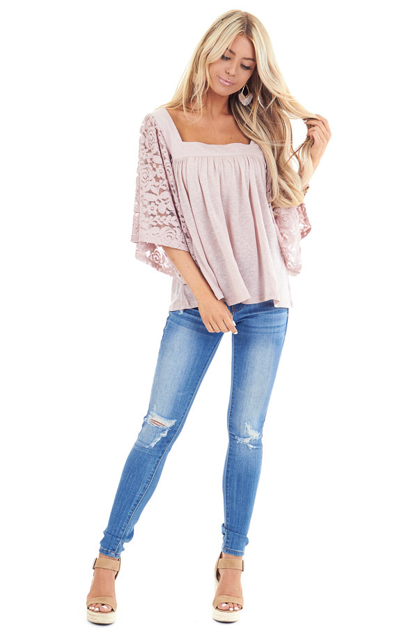 Pale Mauve Square Neck Top with Sheer Lace Half Sleeves front full body