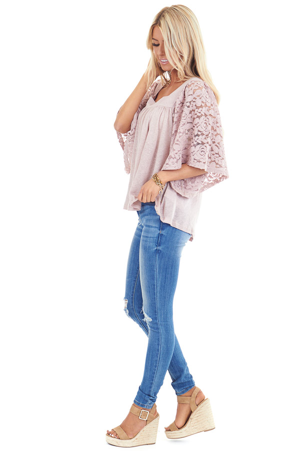 Pale Mauve Square Neck Top with Sheer Lace Half Sleeves side full body