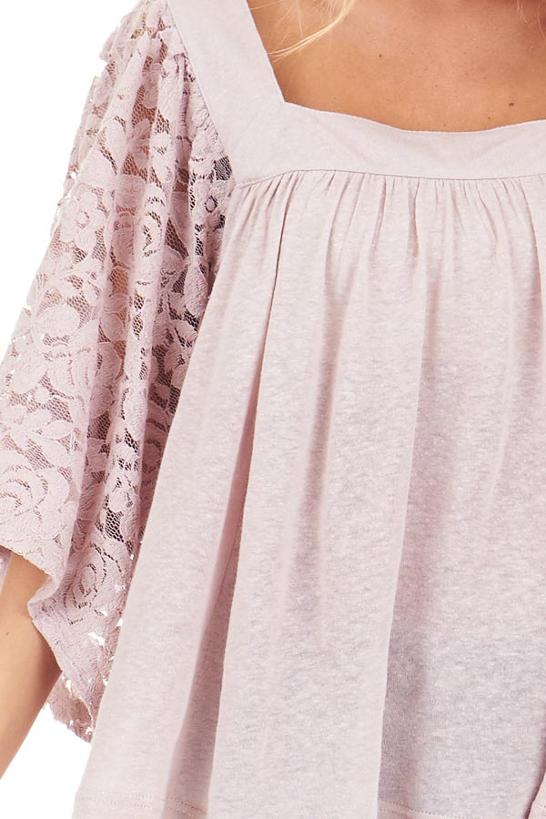 Pale Mauve Square Neck Top with Sheer Lace Half Sleeves detail
