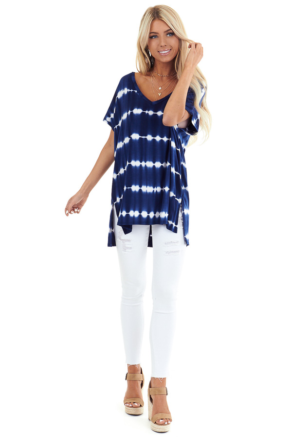 Navy and Ivory Tie Dye Short Sleeve Top with V Neckline front full body