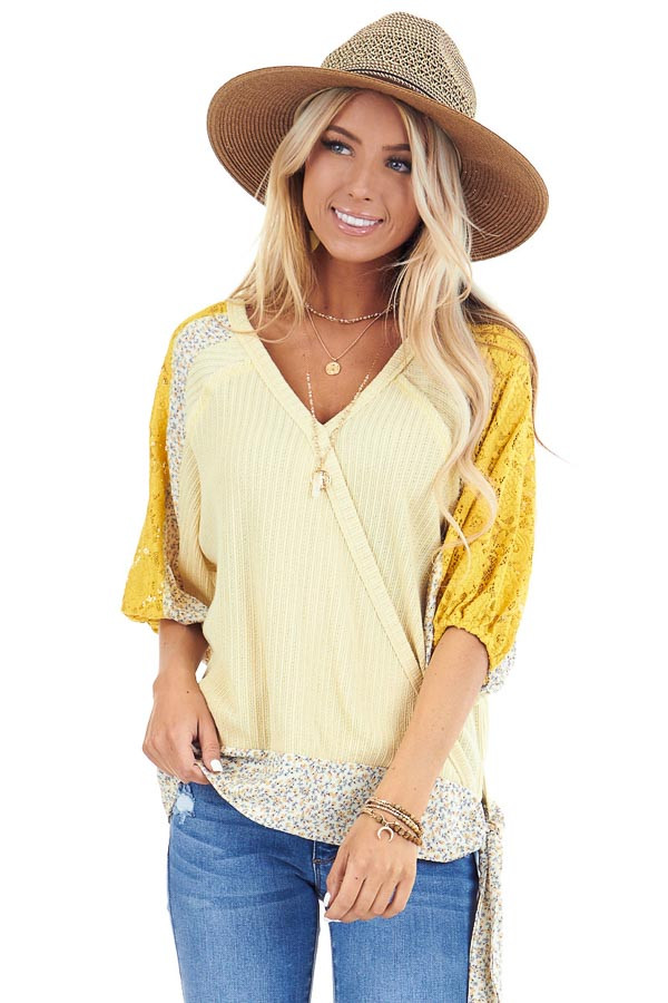 Daffodil Multi Print Surplice Top with 3/4 Bubble Sleeves front close up