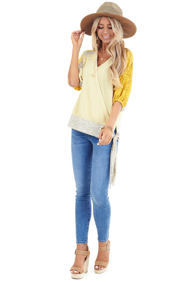 Daffodil Multi Print Surplice Top with 3/4 Bubble Sleeves front full body