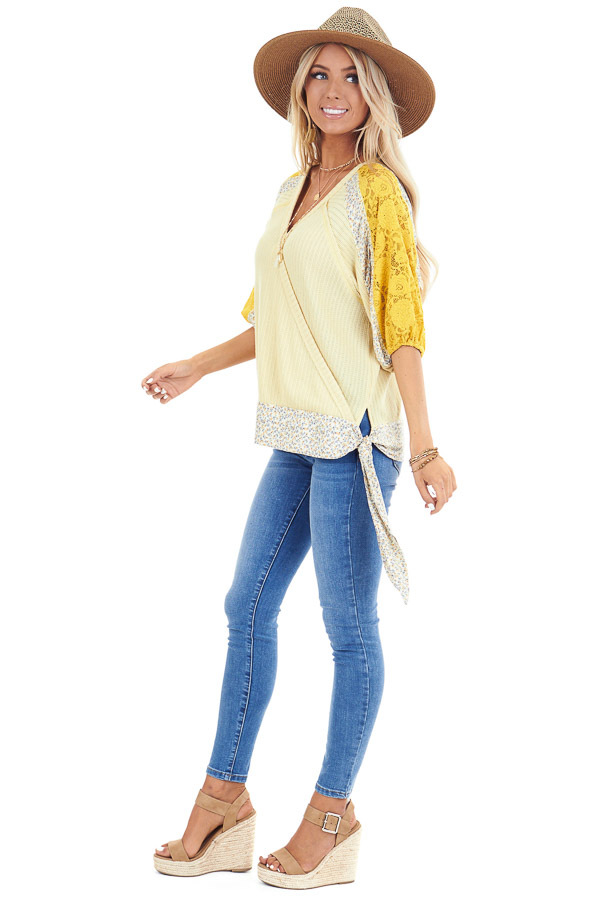 Daffodil Multi Print Surplice Top with 3/4 Bubble Sleeves side full body