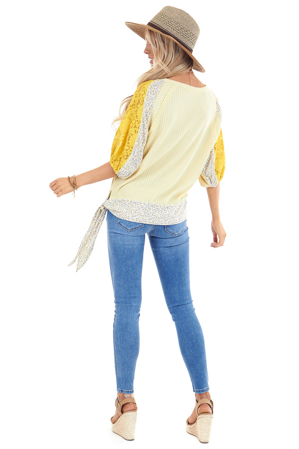 Daffodil Multi Print Surplice Top with 3/4 Bubble Sleeves back full body