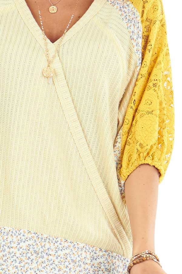 Daffodil Multi Print Surplice Top with 3/4 Bubble Sleeves detail
