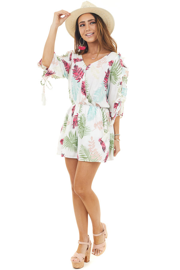 Ivory Cold Shoulder Romper with Palm Leaves Print