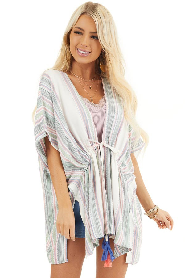 Sage and Ivory Striped Kimono with Cinched Waist Detail front close up