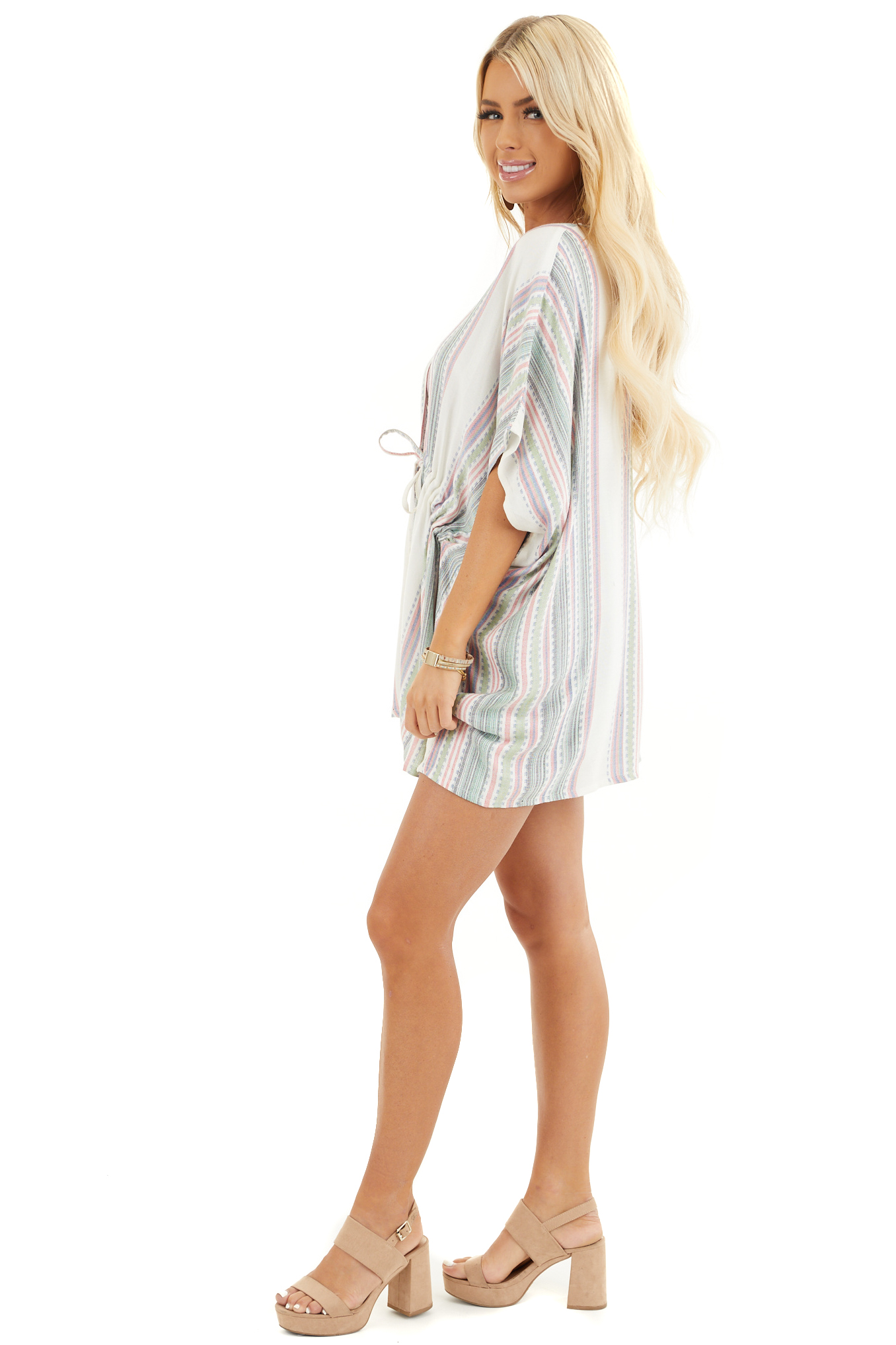 Sage and Ivory Striped Kimono with Cinched Waist Detail side full body