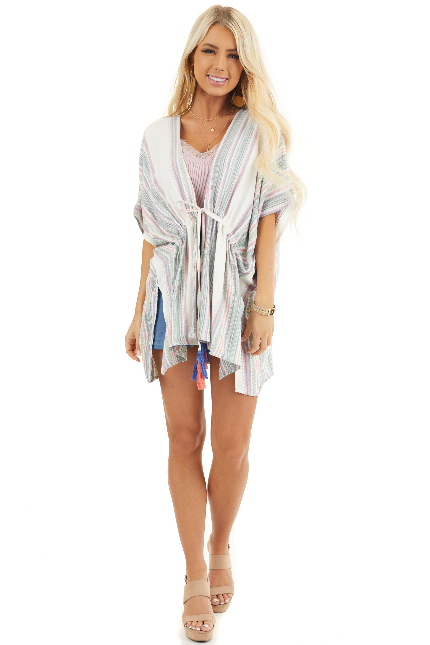 Sage and Ivory Striped Kimono with Cinched Waist Detail front full body