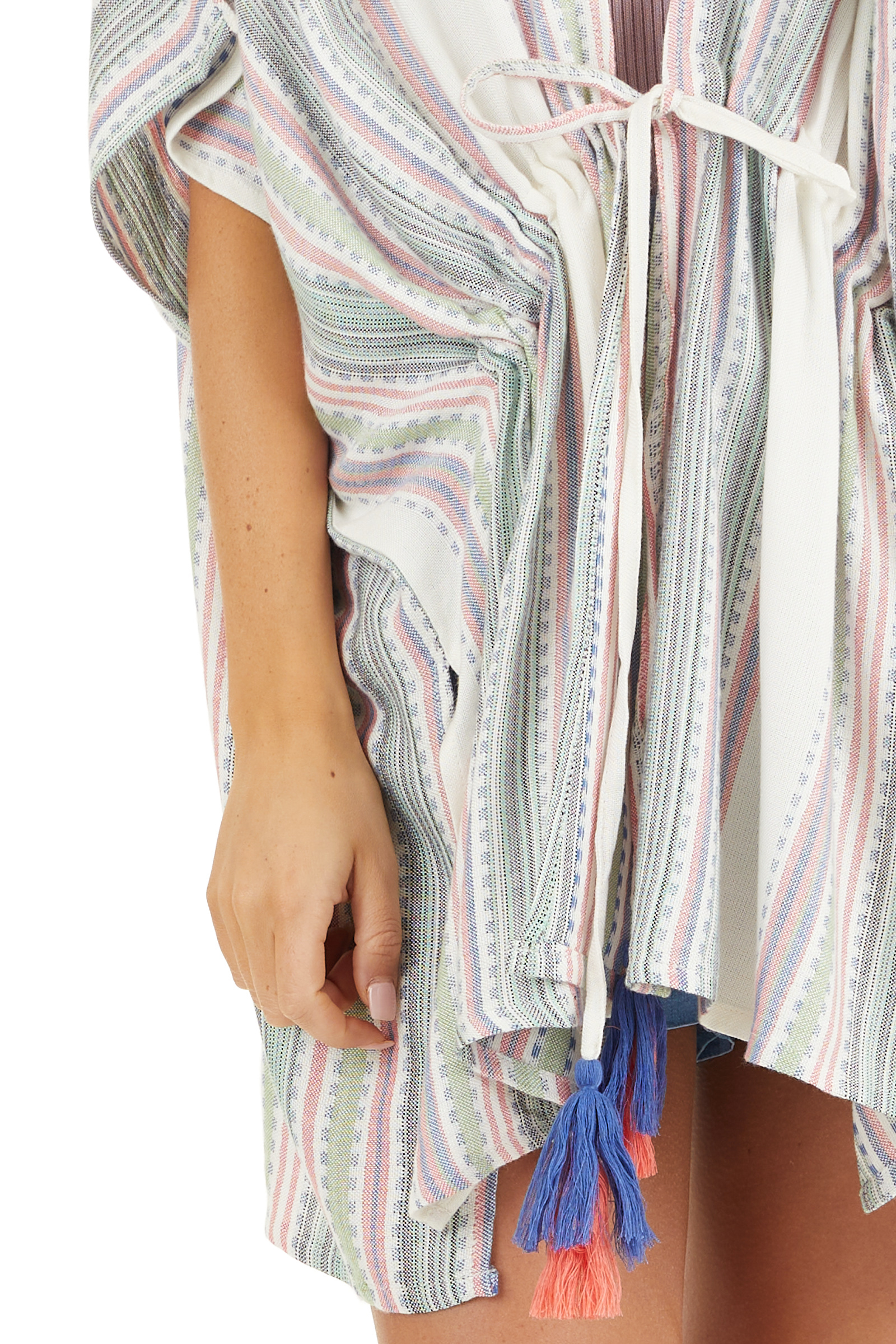 Sage and Ivory Striped Kimono with Cinched Waist Detail detail